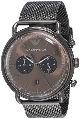 Emporio Armani Herren Chronograph Quarz Uhr mit Edelstahl Armband AR11141