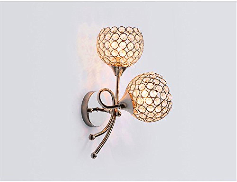 JLXMZX Kristall Wand Lampe   moderne einfache Doppel-Kopf Wand Lampe   Wohnzimmer Schlafzimmer Bett Lampe   Ball   Gre  12  30cm ( Farbe   B , Wattage   5w )