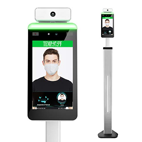 Face Recognition Body Temperature Measurement System Infrared Body Temperature Detection Scanner Access Control Punch Card Machine, All-in-One Machine,Support face Comparison Library (Stand Included)
