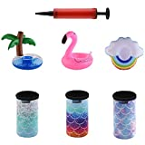 Bluecell 3pcs 12oz Slim Neoprene Insulators Can Sleeves Beer Can Coolie Covers & 3pcs Inflatable Drink Holder Pool Drink Floats Cup Coasters with Inflator