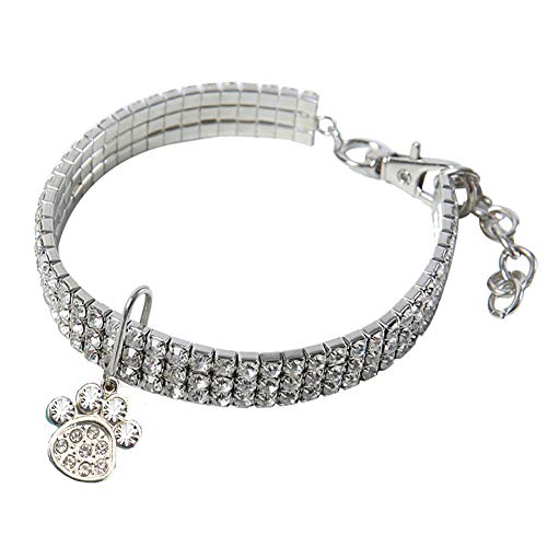 Hihey Gargantilla de Diamantes de imitación con Collar elástico Mascotas Ajustable para Perros pequeños, medianos y Gatos medianos