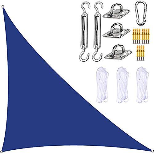 DAMAI Toldo Vela De Sombra Triangular, 3x3x4.3M HDPE Transpirable Protección UV para Patio Exteriores Jardín,Azul