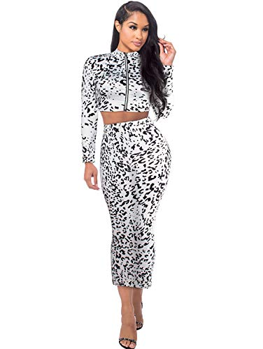 Womens 2 Piece Outfits Leopard Print Sexy Long Sleeve Crop Top and Skirt Set Dress White