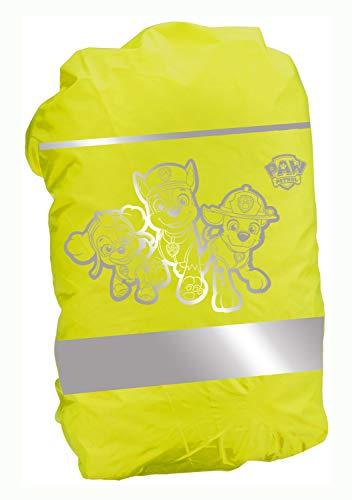 POS 31482 - Reflektierender Rucksack - Regenschutz, mit angesagtem Paw Patrol Motiv, Regenhülle für Ranzen und Rucksäcke in neon-gelb mit Reflektoren, zur besseren Sichtbarkeit im Straßenverkehr