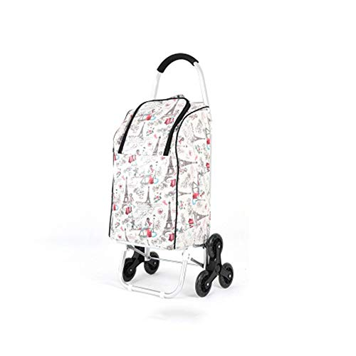 ZoSiP Folding Shopping Trolley Cart Aluminum Alloy Insulated Folding Shopping Cart Household Portable Shopping Grocery Folding Cart Large Shopping Trolley Bag (Color : White, Size : 100x45x36cm)