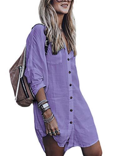 Bsubseach Long Sleeve Swimsuit Cover Up for Women Loose Button Down Swimwear Beach Shirt Tunic Dress Purple