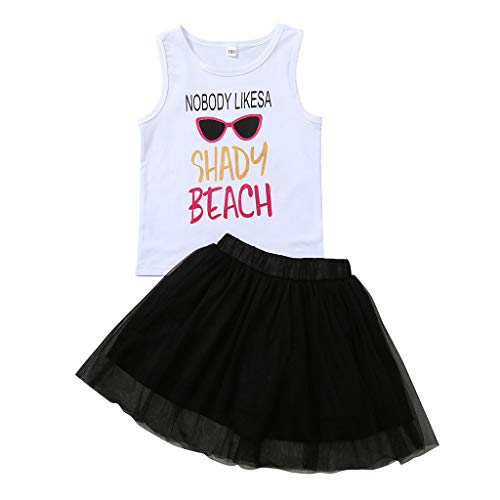 Julhold Peuter Kid Baby Meisjes Leuke Mooie Letter Print Vest Katoen Topjes Tule Rokken 2PC Outfit Sets Zomer 0-4 Jaar