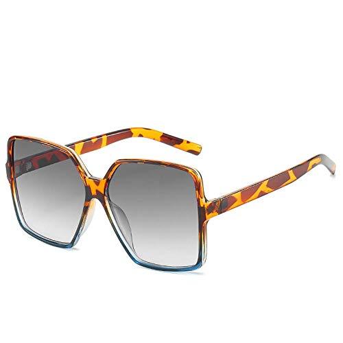 QINGZHOU Sonnenbrillen,Quadratische Brille Trendige Modische Quadratische All-Match-Casual-Strahlenschutzbrille Mit Leopardenrahmen Unter Blau