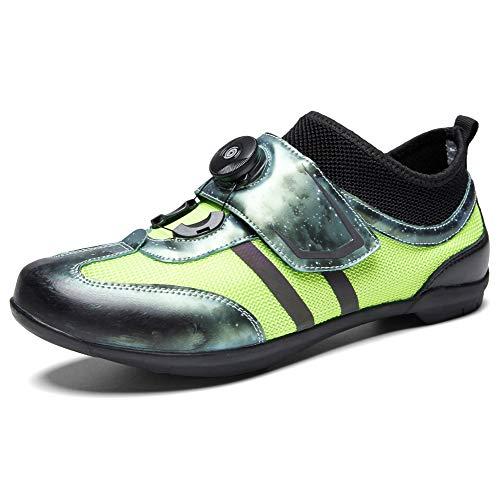 YOWAX Ciclismo de Carretera Zapatos Unisex elevadores Zapatos de la Bici Adultos Zapatos de la Bici Casual Antideslizante Amortiguación giratoria Botón-GREEN-EU38