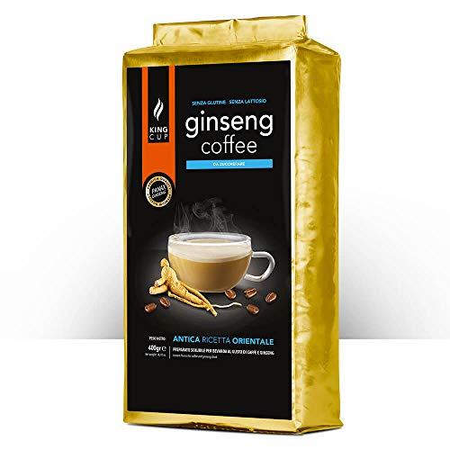 King Cup - 1 Verpackung mit 400 Gr Zuckerfreier Ginseng-Löslichem Kaffeepulver zum Süßen, Ideal zum Hinzufügen zu Heißem Wasser, Glutenfrei, Laktosefrei und Gentechnikfrei