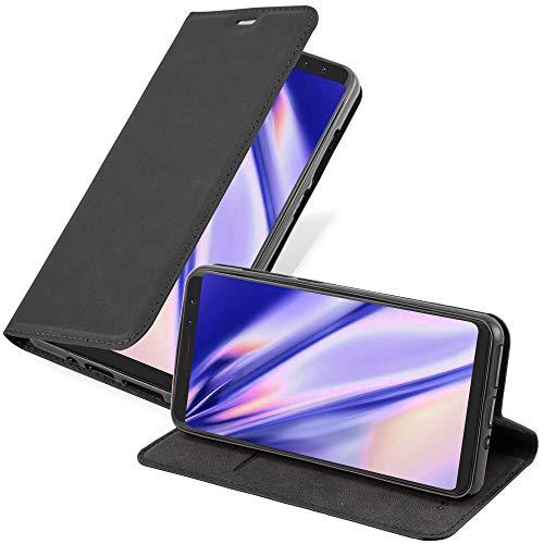 Cadorabo Hülle für WIKO View Prime in Nacht SCHWARZ - Handyhülle mit Magnetverschluss, Standfunktion und Kartenfach - Case Cover Schutzhülle Etui Tasche Book Klapp Style