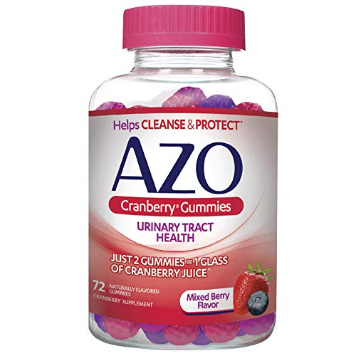 AZO Cranberry Urinary Tract Health Gummies Dietary Supplement   2 Gummies = 1 Glass of Cranberry Juice   Helps Cleanse & Protect   Natural Mixed Berry Flavor   72 Gummies