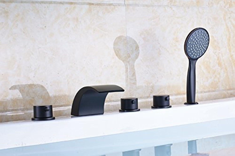 Deck montiert Messing Wasserfall Badewanne Waschbecken Wasserhahn drei Griff Mixer Ventil Bad verbreitete Whirlpool Mischbatterie + Handdusche, E