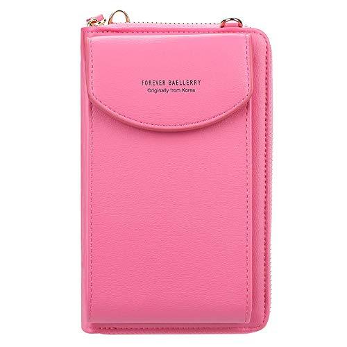 RWXCOW Handy Tasche/Handytasche Zum UmhäNgen/Handytasche Mit GeldböRse Zum UmhäNgen Damen Modische Handy Tasche 12 Farben rosa rot