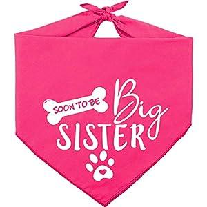 Pawskido Big Sister Dog Bandana,Reversible Triangle Bibs Pet Scarf