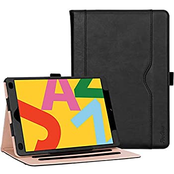ProCase iPad 10.2 Inch Case 2020 8th Generation / 2019 7th Generation iPad Case Leather Vintage Stand Folio Cover Protective Case for 10.2  iPad 8th Gen / 7th Gen -Black