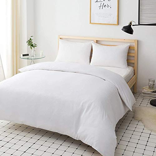 Ashton Polly-cotton Plain Dyed Duvet Cover with Matching Pillowcases White - Single, Double, King, Super King (White, Single)