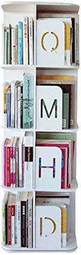 YZ Libreria Forma quadrata Ruota Libreria semplice da terra 2/3/4 / Strato di grande capacità, 3 colori,bianca,46 * 46 * 126,5 cm
