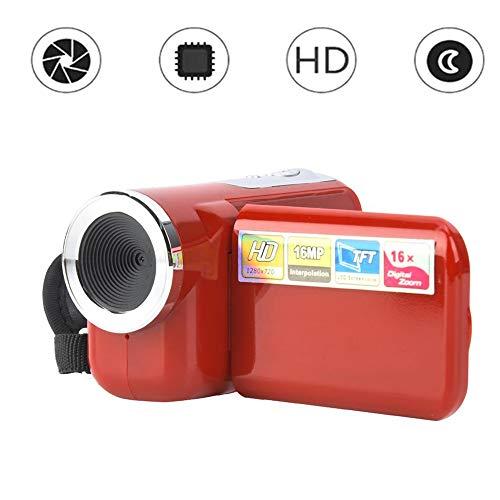 Videocamera, 16X HD 1080 * 720 2 inch TFT LCD-scherm digitale videocamera camcorder ondersteunt fotografie en video voor fietsen, klimmen en hardlopen. Beste cadeau voor verjaardag. (Rood)