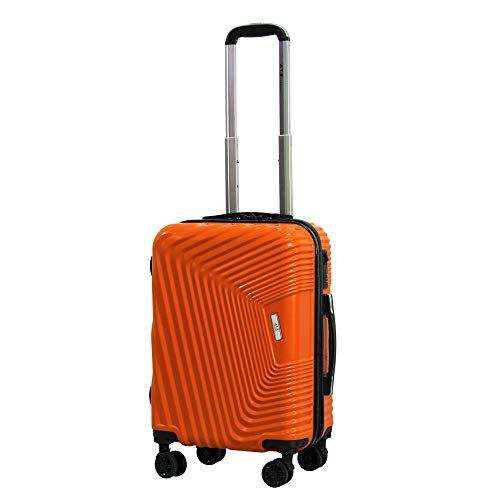 21' ATX Luggage ABS+PC Hard Shell Cabin Luggage Super Lightweight Durable Carry-ons Hand Luggage Trolley 8 Wheeled Luggage Bag for EasyJet, Jet2, BA (S(55.5cm 38L), Orange)