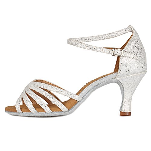 HROYL Mujer Zapatos de Baile Latino/Moderno/Samba/Chacha para Mujer Satin Zapatos de Baile...