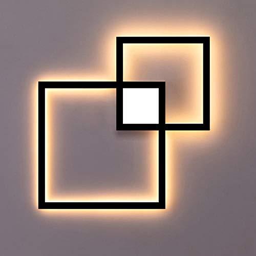 Led-wandlamp, zwart, wit, rond, vierkant, om zelf te maken, wanddecoratie, 24 W, warm wit, 20 W, zwart, afstandsbediening