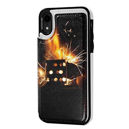 N/A Lederen iPhone XR Portemonneehouder, Kaarthouder Case met Creditcard Slots Aansteker smeedijzer, Anti-Scratch Shock Proof Soft TPU Bumper Full-Body Beschermend Hoesje voor iPhone XR 6.1 Inch