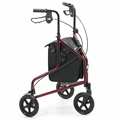 Days Lightweight Aluminium Folding 3 Wheel Tri Walker with Lockable Brakes and Carry Bag, Adjustable Height, Limited Mobility Aid, Ruby Red with Bag, (Eligible for VAT relief in the UK)