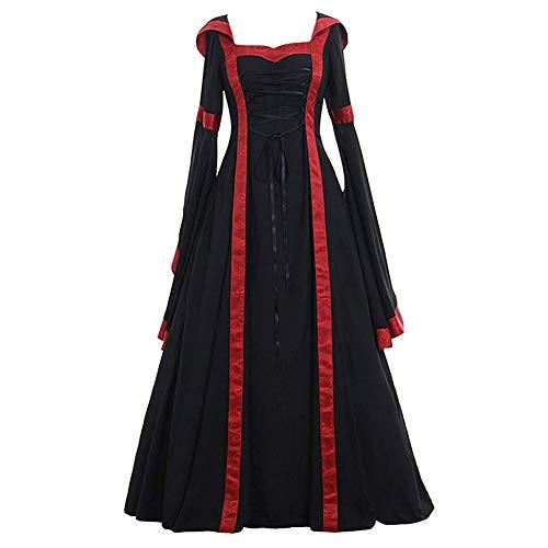 Lover-Beauty Vestido Maxi con Capucha Medieval de La Vendimia de Las Mujeres de Halloween Disfraz de Encaje Victoriano con Manga Abocinada Negro 5XL