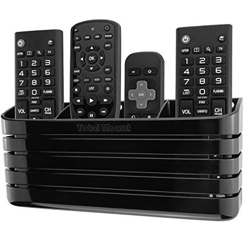 TotalMount Soporte para mando a distancia sin agujeros, elimina la necesidad de taladrar agujeros en la pared (negro de alta calidad, diseño moderno para 3 o 4 mandos a distancia)