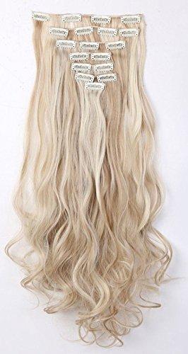 S-noilite - Extensiones para cabello ondulado con sujeción de clip para toda la cabeza. Pack de 8 unidades con 18 clips de 60cm color rubio arena y rubio blanquecino