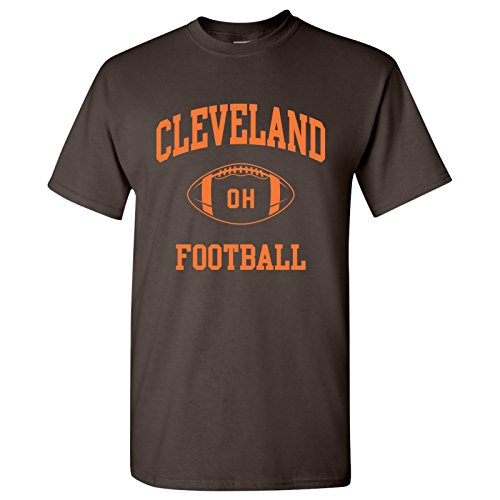 Cleveland Classic Football Arch Basic Cotton T-Shirt - X-Large - Dark Chocolate