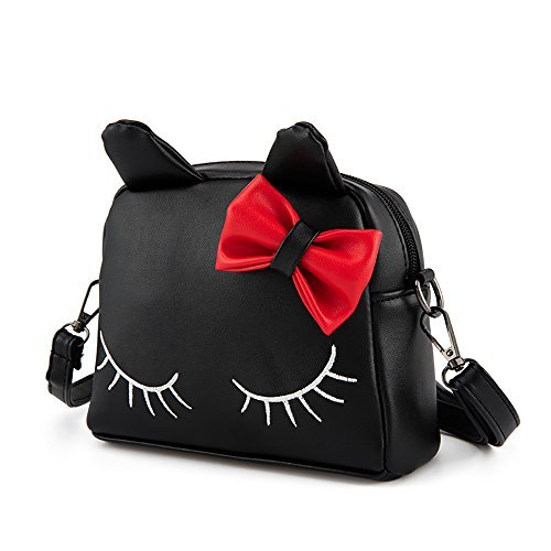 Pinky Family Cute Cat Ear Kids Handbags PU Leather Crossbody Bags and  Backpacks (black) 60c78a7215605