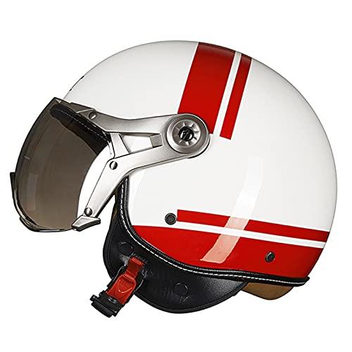 DDZY Casco Jet · Casco de Moto Casco de Scooter Casco de ciclomotor Casco de Moto piloto Retro Vintage Gafas · ECE 22.05 con Visera Solar,E,M(54~55CM)