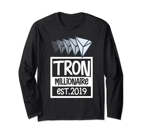 Tron Millionaire Shirt, BTC Crypto Cool TRX Coin Blockchain Maglia a Manica
