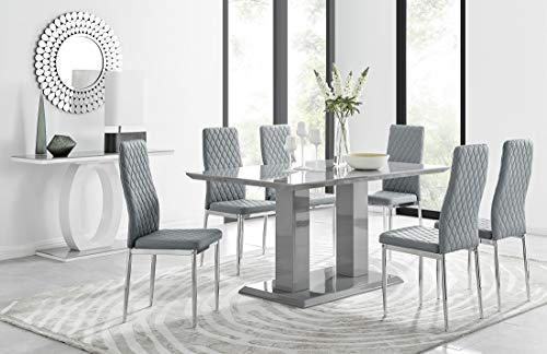 Furniturebox UK Imperia 6 Modern Grey High Gloss Dining Table And 6 Stylish Contemporary Milan Dining Chairs Set (Table + 6 Elephant Grey Milan)