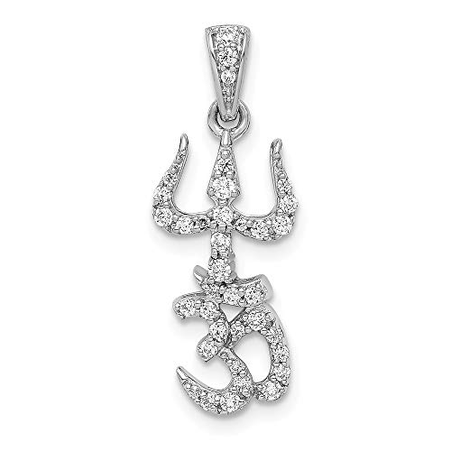 14K White Gold 1/4 ctw Diamond Trishula With Om Pendant