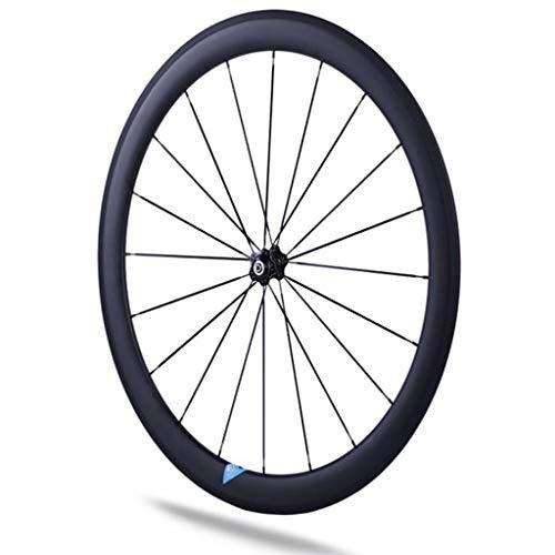 LDDLDG Juego Ruedas Bicicleta Bicicleta de Fibra de Carbono Carretera Bicicleta de Las Ruedas Delanteras de 50 mm remachador de Ruedas 700c Que compite con la Rueda de Bicicleta