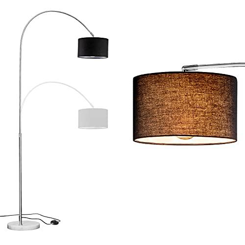 WUDSEE Lámpara de Arco Lámpara de Pie Arqueada Ajustable en Altura con Base de Mármol y Pantalla de Tela Adecuada para Lámparas Normales de Hasta 60 W, E27 Enchufe, Color: Altura125-180 CM, Negro
