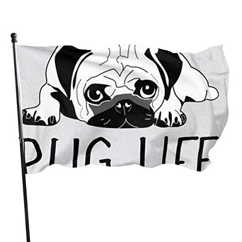 Drapeaux 3x5 Fly Breeze Feet Pug Life - Vivid Color and UV Fade Resistant Garden Flags Indoor & Outdoor Decorative Flags Banner