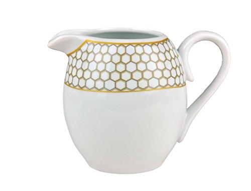 Van Well melkkannetje Honey, 250 ml, melkkan, kannetje, melkkannetje met luxe honingraatdecoratie, honingkleur, goud-geel-grijs, edel merkporselein