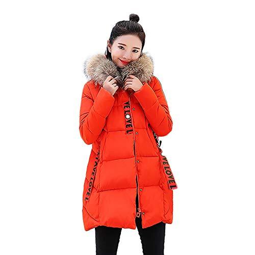 OverDose Damen Damen Winterjacke Wintermantel Lange Daunenjacke Jacke Outwear Frauen Winter Warm Daunenmantel Solide Lässig Dicker Winter Slim Down Lammy Jacke Mantel(Y-Orange,EU-34/CN-L )