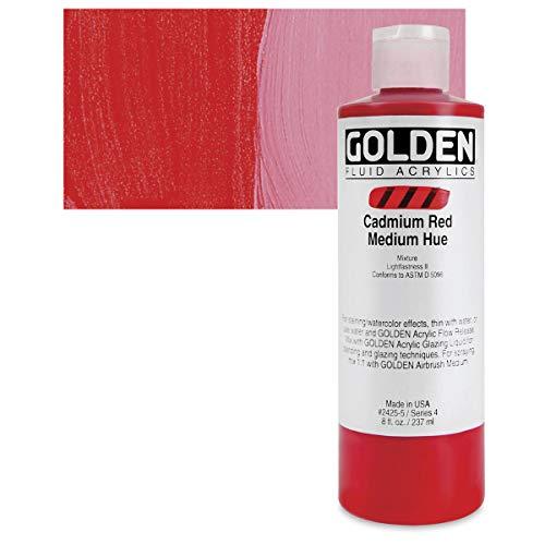 Golden : Fluid Acrylic Paint : 236ml (8oz) : Cadmium Red Medium Hue