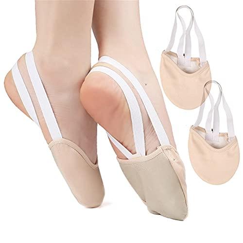Calcetines de media suela para ballet, transpirables, antideslizantes, de media suela para ballet, zapatos de danza de pirouette de cuero, para hombres y mujeres, para bailarín de ballet y ballet