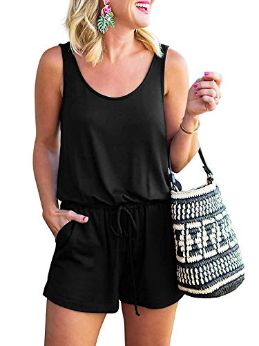 MILLCHIC Women's Casual Loose Sleeveless Round Neck Tank Romper Jumpsuits with Pockets 20M9-heise-L