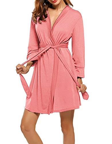UNibelle Damen Morgenmantel Kurz aus Baumwolle Dünn 3/4 Ärmel Bademantel Kimono Saunamantel Robe Negligee Mit V-Ausschnitt Sommer