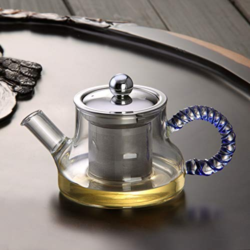 Cjji Tetera de vidrio Tetera de vidrio resistente al calor Juego de té de vidrio Juego de tetera con filtro de acero inoxidable Juego de té negro Flor de té Cervecería, B 300 ml,A 300ml