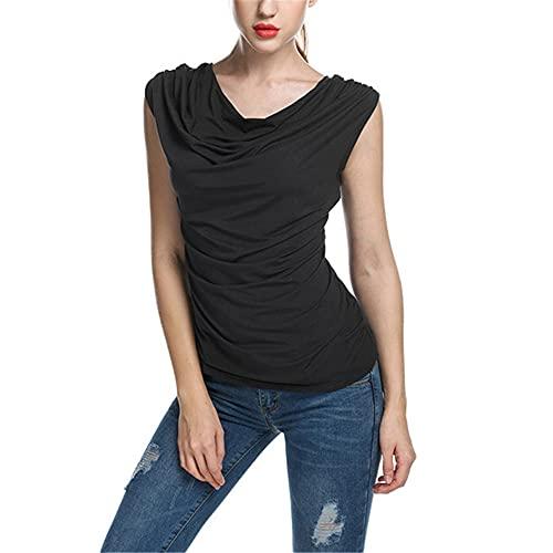 Tops Mujer Elegante Moda Verano Color Sólido Sin Mangas Mujer T-Shirts Único Plisado Diseño Todos Los Días Casual Fit All-Match Mujer Blusas A-Black M