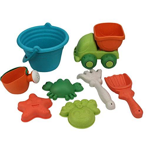GULI Beach Sand Toys Set for Kids ,Sandbox Toys Set Includes Beach Bucket, Car, Watering Can, Shovel, Rake,Animal Sand Molds for Kids Summer Outdoor Beach Fun (8Pcs)