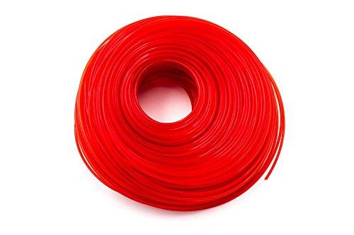 vhbw Mähfaden Trimmerfaden mit 2mm Durchmesser für Rasentrimmer Motorsense - 100 Meter, Rot, Nylon, widerstandsfähig - Rasentrimmerfaden Ersatzfaden